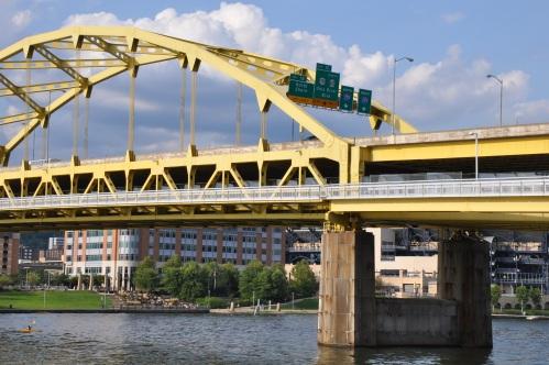 Pittsburgh cityscape bridge PNC park