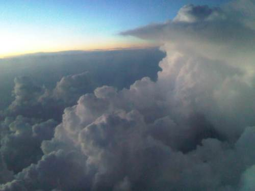Sunset and thunderhead from the plane