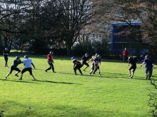 German kids playing American football