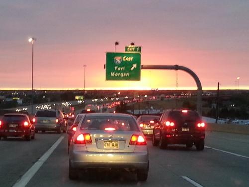 Sunrise on the Interstate in Denver