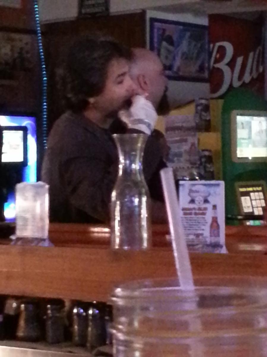dude with a broken hand in a biker bar