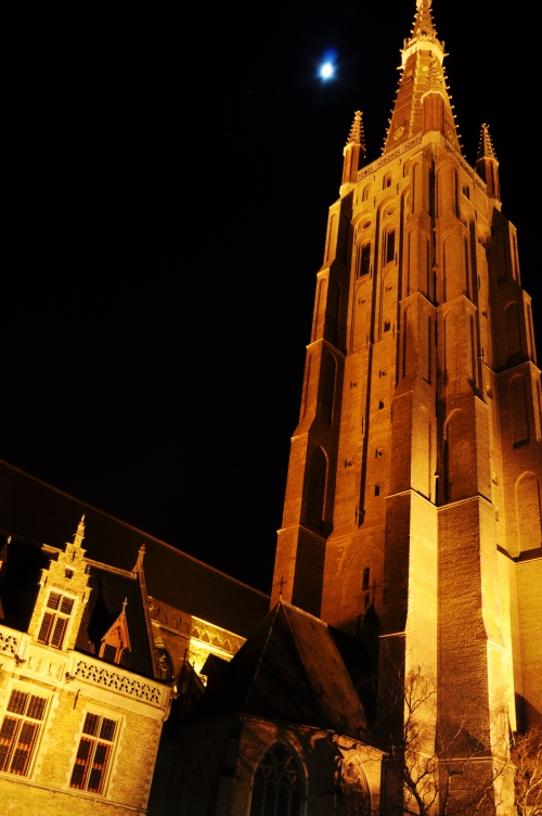 Bruges, Belgium at night.