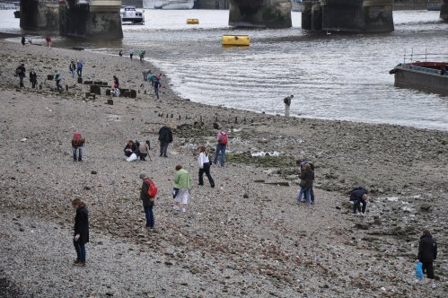 There were people all over the banks of the river with metal detectors.