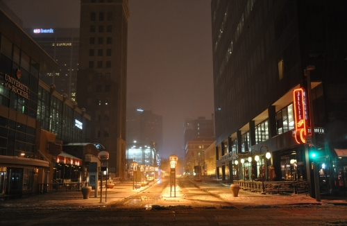 Snow in Downtown Denver